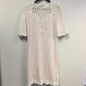 Vintage Soft Pink Silk Beaded Sequin Dress